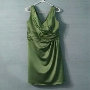 Sage green Davids Bridal bridesmaids dress